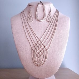 Vintage Liquid Silver Southwest Beaded Jewelry Set
